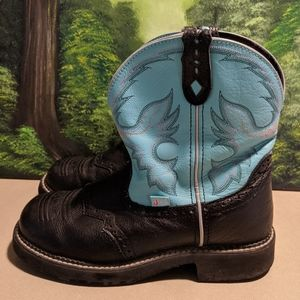 Justin cowgirl boots turquoise and black size 9B